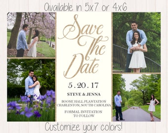 Printable Save The Date Photo Collage, Save The Date Invitation, Customizable Save The Date