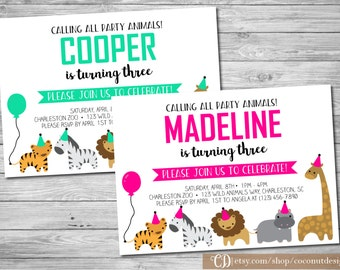 Zoo Birthday Invitation / Boy or Girl / Animal Birthday / Jungle Birthday / Printable File