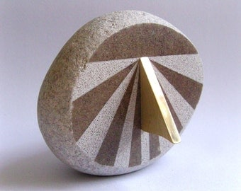 Windowsill Sundial for UK, natural beach stone and solid brass pointer, with free shipping!