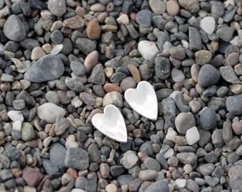 Heart - Silver stud earrings - heart earrings - silver heart - silver jewelry- simple earrings for everyday