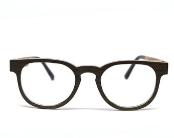 Dark Oak Wood Keyhole Eyeglasses Vintage Wood Eyeglasses Wood Glasses Holzbrille Real Wood Glasses Wood Sunglasses Prescription Frames