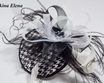 SALE! Black Kentucky darby hat / Black mini hat / Black and white fascinator with feather Ready to Ship