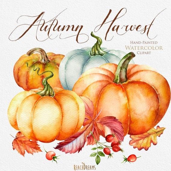 Pumpkin watercolor clipart Halloween Autumn Briar Yellow