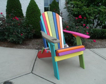 CONFETTI PARTY Chair - Poly Lumber Folding Adirondack Chair w/Cup Holder - Amish Made Model# B100C