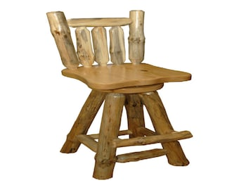 "Set of 2 Rustic Pine Log - Custom - Handmade - Swivel Pub Chair Stool with Back - 24"" COUNTER HEIGHT - Amish Made in USA"