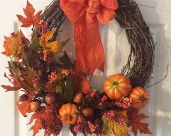 Pumpkin Patch Grapevine wreath