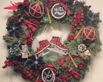 Farmhouse Christmas Wreath, Red and Black Buffalo Plaid Christmas Wreath, Farmhouse Christmas Decor, Christmas Wreath