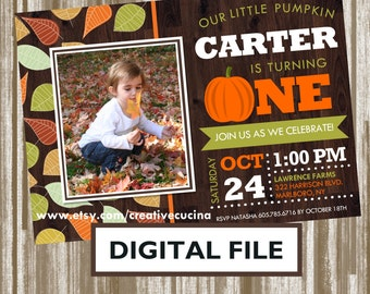 Little Pumpkin Theme First Birthday Photo Invitation  *PERSONALIZED DIGITAL FILE* (Color Choice)