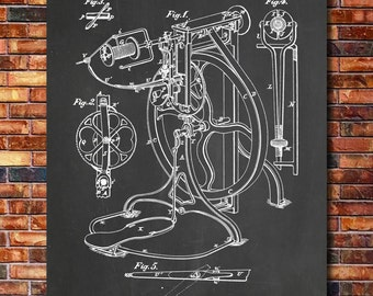 Spinning Wheel Patent Print Art 1874