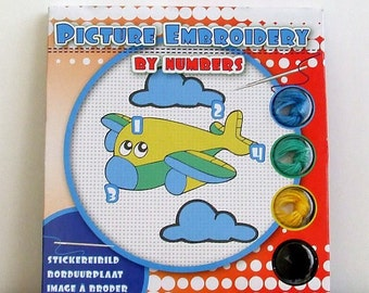 Embroidery Kit, Easy Airplane Embroidery Kit, Craft Kit, Complete Embroidery Kit