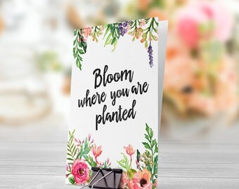 Bloom Where You Are Planted Pastel Flowers 5x7 inch Folded Greeting Card - GC1014