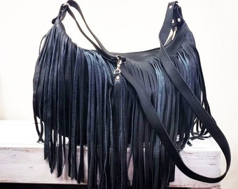 Bucket bag. Crossbody leather bag. Leather fringe bag. Handmade. Handbag. Black.