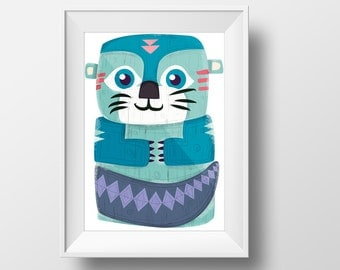 Otters poster- ( for Aquarius natives) illustration children's room decoration : create your family totem native indian theme