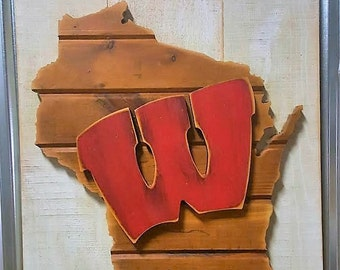 On Wisconsin Love Bucky! Custom Re-Purposed Wood Sign, Shows your Love for Wisconsin & Univeristy of Wisconsin...., Rustic Wood Sign, Home