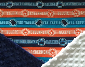 Personalized Minky Dr. Who Tardis Daleks and Cybermen Baby Blanket
