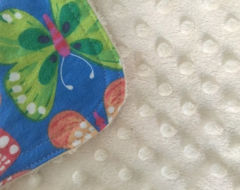 Personalized Minky Burp Cloth- Rainbow Butterflies
