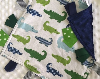 Personalized Tag Blanket Sensory Ribbon Blanket Lovey- Dapper Alligator Crocodiles and Minky Dot
