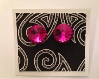 Pink Post Earrings, Dark Pink Stud Earrings, Fuchsia Swarovski Crystal Earrings