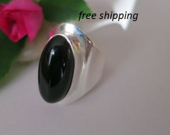 Silver black onyx ring, 92.5 sterling silver