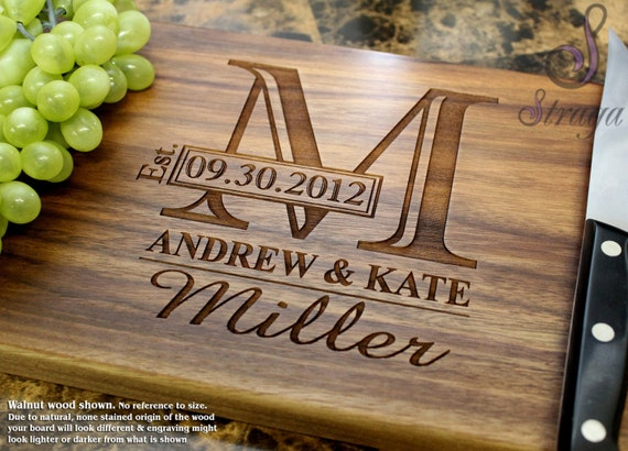 Canadian Wedding Gifts: Personalized Engraved Cutting Board Wedding Gift
