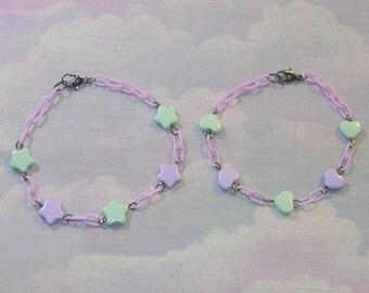 Fairy Kei Bracelet, Sweet Lolita Bracelet, Lolita Bracelet, Bracelet, Star, Heart