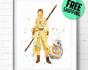 Star Wars Rey and BB-8 print, Rey print, Star Wars poster, Star Wars BB-8 and Rey poster,  Star Wars wall art, watercolor art, [350] decor