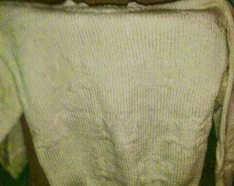 Sweater women s/m white gilt with florets relief