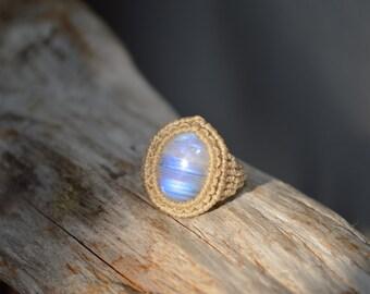 Rainbow Moonstone Macrame Ring