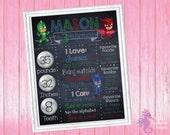 PJ Masks Birthday Chalkboard Sign Printable Digital File