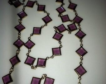 VINTAGE SWAROVSKI AMETHYST  Crystal Bezel Gold Plate Necklace 1980'S