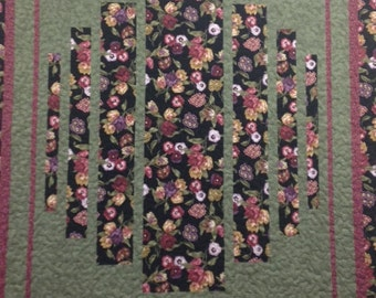 Queen sized quilt, black floral quilt, contemporary quilt