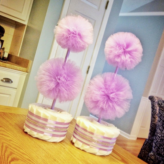 lavender baby shower decorations diaper cake centerpieces tulle