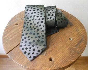 Adolfo Dominguez Tie Vintage 90s Dark Grey with Black Dots Silk 100%