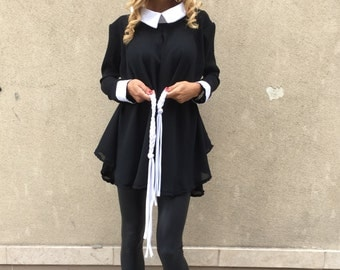 Black Georgette Shirt With White Collar, Oversized Maxi Tunic Top, Midi Dress With Belt by SSDfashion