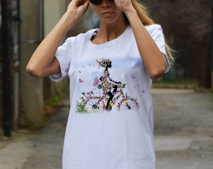 Woman Whit Bicycle White Cotton T-shirt, Plus Size Printed Tshirt, Extravagant Party Top By SSDfashion