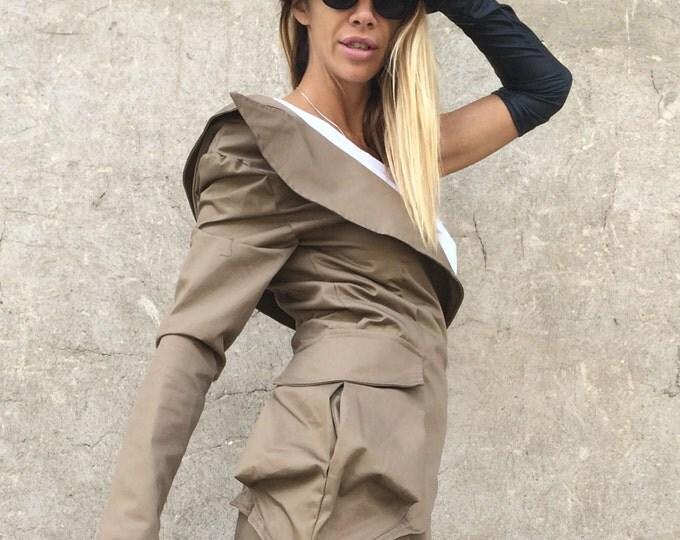 Asymmetrical Brown Stylish Blazer, One Sleeve Extravagant Jacket, Asymmetrical Cotton Buttoned Blazer By SSDfashion
