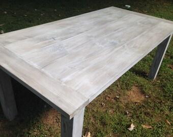Custom Whitewashed Farm Table Up To 9' Length!!!
