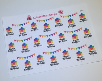 Birthday Balloons and Banners Sticker Set - S063