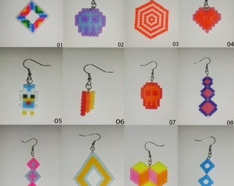 Pair of earrings made out of hama mini beadds