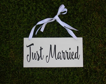 Just Married Wedding Sign. Just Married Sign. Just Married. After Ceremony Sign. Adjustable ribbon to fit any child, cars or tables.