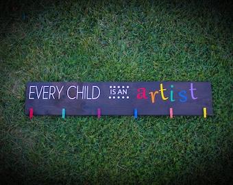 Every Child Is An Artist Sign. Artwork Organization. Childrens Room Decor. Art Display. Kid's Art Display. Childrens Artwork Display.