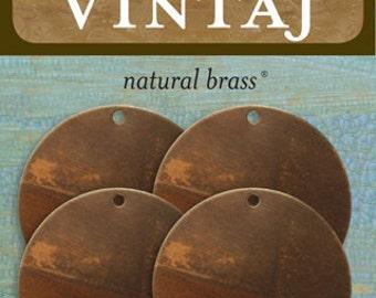 Metal Stamping Blanks 25mm Circle Stamping Blanks Vintaj Made in the USA Natural Brass Bronze 4 pack 26 gauge