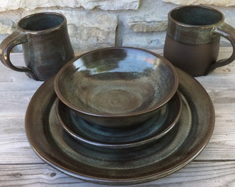 Pottery Dinnerware 4pc Place setting in Iron Lustre