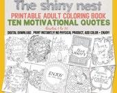 SALE! Printable Adult Coloring Book, Ten Motivational Quotes, Instant Digital Download