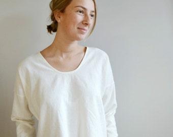 Handmade Scoop Neck Linen Cotton Long Sleeve Shirt