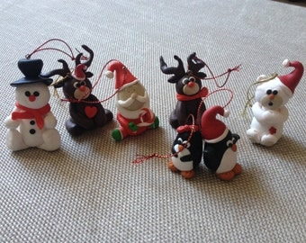 Christmas decorations,7 addobbi di Natale,polymer clay ornaments set,clay penguin,handmade decorations,clay bear,christmas tree decoration