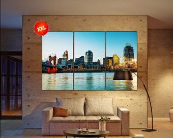 Cincinnati wall decor art  Cincinnati black white  Cincinnati canvas wall art  canvas wall art