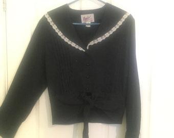 Black Lace trimmed Sailor Collar Blouse
