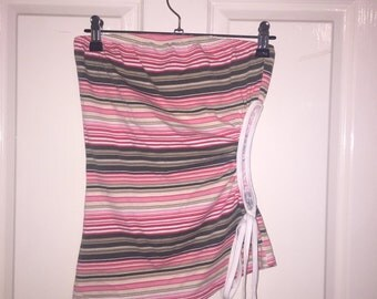 90's Cut Out Striped Boob Tube