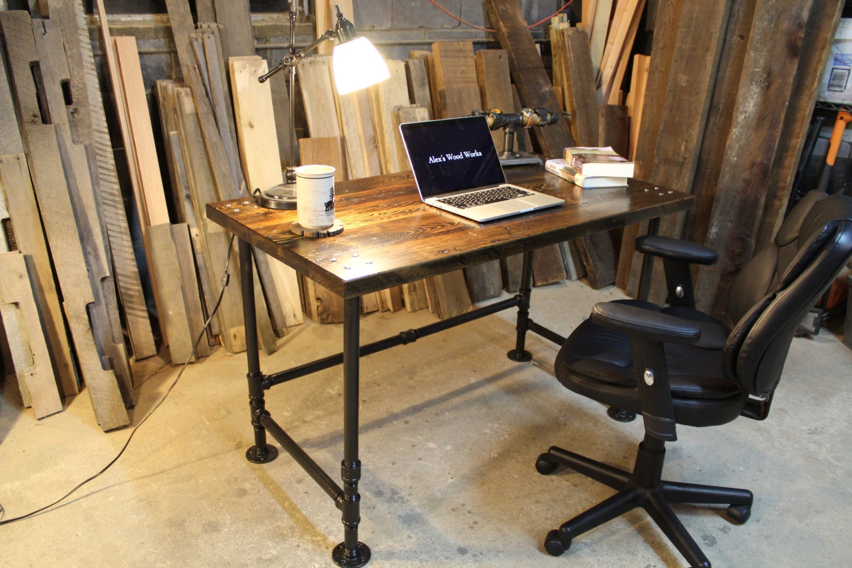 Industrial pipe reclaimed wood desk for Industrial pipe desk